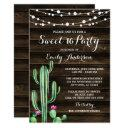 rustic watercolor cactus barn wood sweet 16 invitation