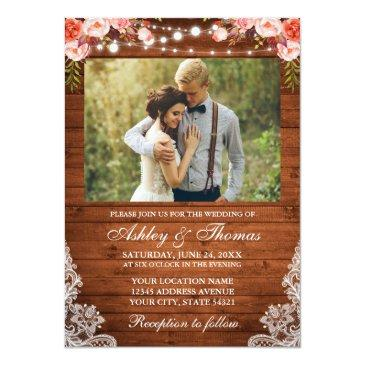 rustic wedding coral floral wood lights lace photo invitation