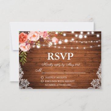 rustic wedding wood coral floral lights lace rsvp