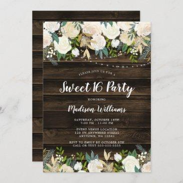 rustic white floral string lights sweet 16 invitation