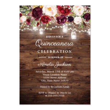 rustic wood burgundy floral lights quinceanera invitation