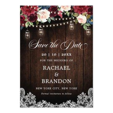 Small Rustic Wood Floral Mason Jar Save The Date Front View