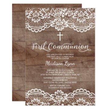 rustic wood lace first holy communion