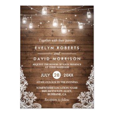 rustic wood mason jars string lights lace wedding