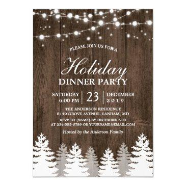 rustic wood string light pines tree holiday party invitations
