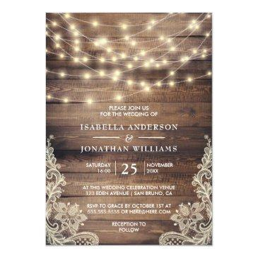 Small Rustic Wood & String Lights | Vintage Lace Wedding Invitations Front View