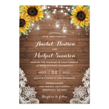 Small Rustic Wood Sunflower String Lights Lace Mason Jar Invitation Front View