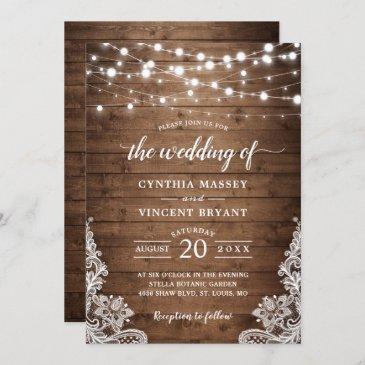 rustic wood twinkle string lights lace wedding invitation