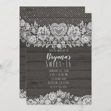 rustic wood & white lace sweet 16 birthday invitation