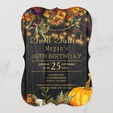 rusty autumn floral chic sweet sixteen birthday invitation