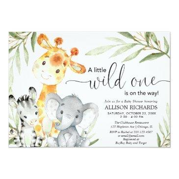 Small Safari Animal Wild One Gender Neutral Baby Shower Invitation Front View