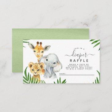 safari animals baby shower diaper raffle enclosure invitations