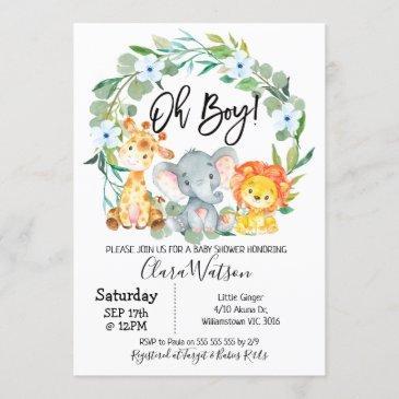safari animals wreath baby shower invitation