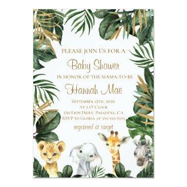 Small Safari Boy Baby Shower Invitation Front View