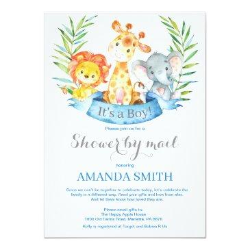 Small Safari Jungle Boy Baby Shower By Mail Invitation Front View