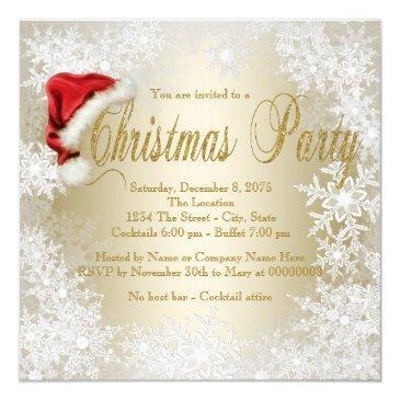 santa hat snowflake christmas party invitation