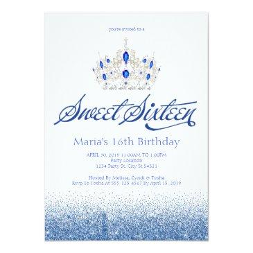 Small Sapphire Blue Sweet Sixteen Invitations Front View