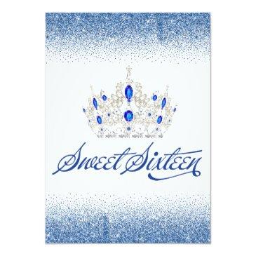 Small Sapphire Blue Sweet Sixteen Invitations Back View