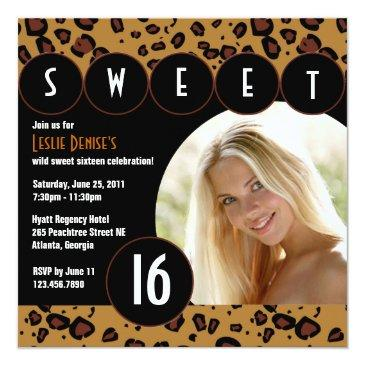 sassy leopard sweet sixteen photo invite [brown]
