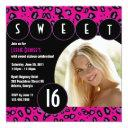 sassy leopard sweet sixteen photo invite [pink]