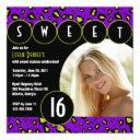 sassy leopard sweet sixteen photo invite [purple]