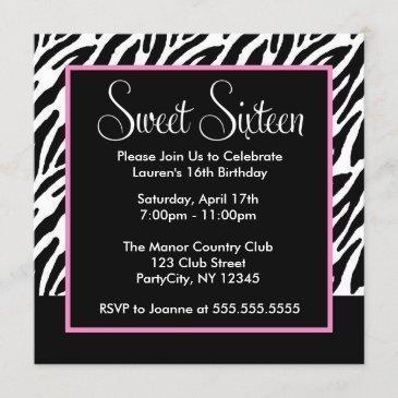 sassy pink and black zebra print invitation