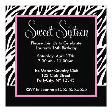 sassy pink and black zebra print invitations