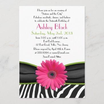 sassy pink daisy zebra print sweet 16 invitation