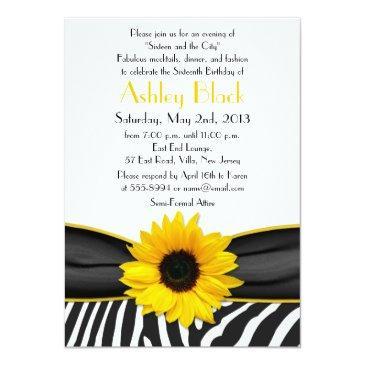 Small Sassy Sunflower Zebra Print Sweet 16 Invitation Front View