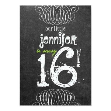 sassy sweet sixteen chalkboard invitations