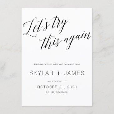 save the new date, wedding postponement invitations. invitation