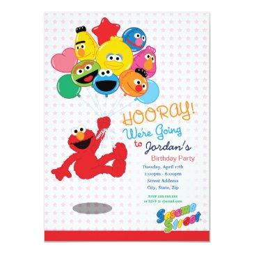 sesame street | elmo and pals - birthday balloons invitations