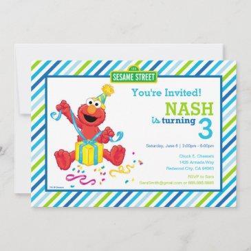 sesame street   elmo - boys birthday striped invit invitation
