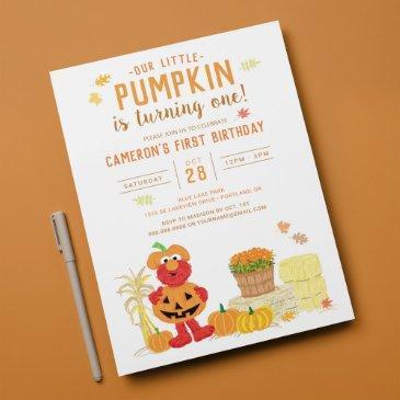 sesame street - elmo   pumpkin first birthday invitation