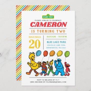 sesame street pals   2nd birthday balloons invitation