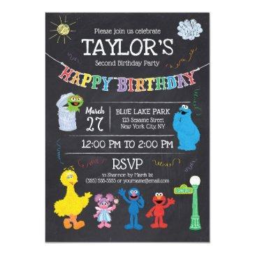 Small Sesame Street Pals Chalkboard Rainbow Birthday Invitations Front View