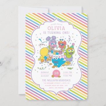 sesame street   striped baby birthday invitation