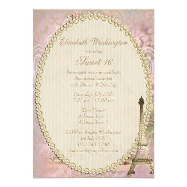 Small Shabby Chic Eiffel Tower Pink Floral Sweet 16 Invitations Back View