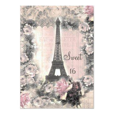 Small Shabby Chic Eiffel Tower & Roses Sweet 16 Invitations Front View