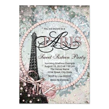 Small Shabby Chic Paris Sweet 16 Party Invitations Front View