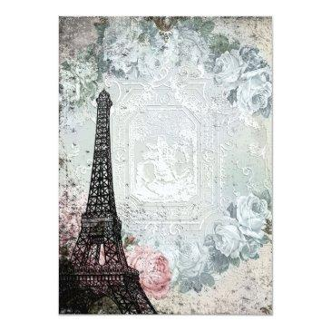 Small Shabby Chic Paris Sweet 16 Party Invitations Back View