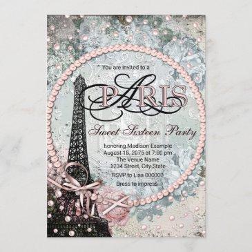 shabby chic paris sweet 16 party invitation