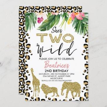 she's two wild second birthday invitation