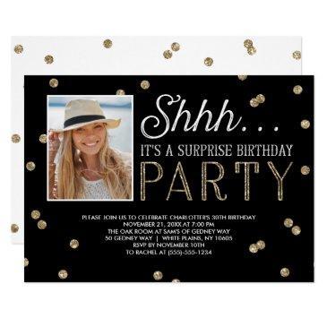 shh surprise bday party glitter photo