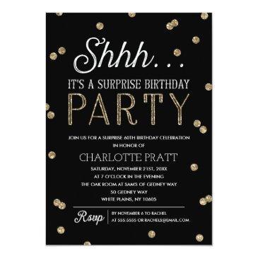 Small Shh Surprise Birthday Party Faux Glitter Confetti Invitations Front View