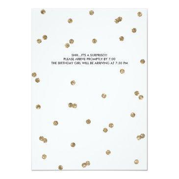 Small Shh Surprise Birthday Party Faux Glitter Confetti Invitations Back View