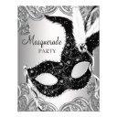 silver and black mask masquerade party invitation