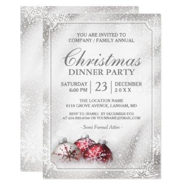 silver baubles snowflakes christmas holiday party invitations
