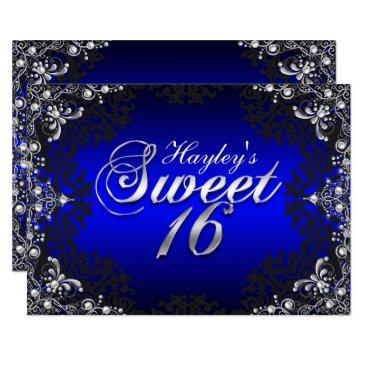 silver black blue pearl damask sweet 16 invite