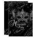 silver black diamond mask masquerade sweet 16 invitations